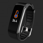 LEMONDA Smart Watch C6T 0.96'' Color Screen Temperature Monitoring HR Bracelet - Black