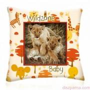 WILD ZONE Baby KIS OROSZLÁNOK állatos díszpárna 28x28 cm