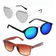 GreatDio Oval, Cat-eye, Wayfarer Sunglasses(Blue, Silver, Brown)