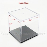 Odoria Clear UV Acrylic Display Box Case 2.6' Cube Small Size Dustproof Figure Display Protection