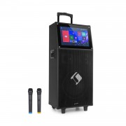 "Auna Pro KTV, караоке система, 15.4 "" сензорен екран, 2 UHF микрофона, WiFi, BT, USB, SD, HDMI, количка (PAS5-1215dvd)"
