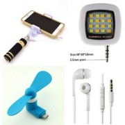 Shutterbugs Mini Selfie Combo with Flash Light and Micro Usb Fan and Handsfree