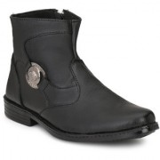 Atton men's black leather formal long boot shoes