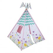 """Pacific Play Tents Kids Wild Flowers Cotton Canvas Teepee Playhouse Tent - 45"""" 45""""x 64"""""""