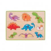 Puzzle incastru din lemn pentru copii - Dinozauri, 9 Piese