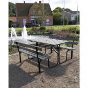 Gruppensitzbank Tisch mit Sonnenschirmhalterung und 2 Sitzbänken grau / schwarz