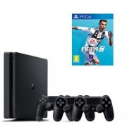 Конзола PlayStation 4 Slim 500GB Black, Sony PS+Игра FIFA 19 за PlayStation 4 - PS4+2X Геймпад - Sony PlayStation DualShock 4 Wireless, версия 2