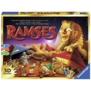 Joc Faraonul Ramses.Contine 47 piramide 30 carti 1 suprafata de joc 12 comori 21 de jetoane si o mumie