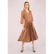 Closet London Brown Pleated Wrap Dress