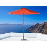 Beliani Divatos téglavörös színű kültéri fa napernyő ø 270 cm TOSCANA II