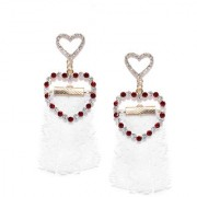 Jewels Galaxy Exclusive Heart Inspired High Quality AD Gold Plated Multicolor Drop Earrings For Women/Girls