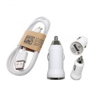 1 amp Car charging Adapter and micro usb data charging cable for smartphones (White)