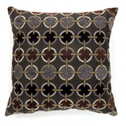 """Furniture of america PL6015S Set of 2 targe collection brown colored fabric 18"""" x 18"""" throw pillows"""