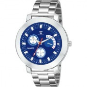 True Colors Blue Chronograph Printed Dial Silver Steel Chain Watch - For Men