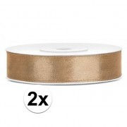 Merkloos 2x Satijn sierlint rollen goud van 25 meter x 12 mm
