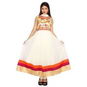 Stuties Women Anarkali net with Hand work in neck line with Chanderi Silk lining Readymade salwar kameezY097C3L Orange