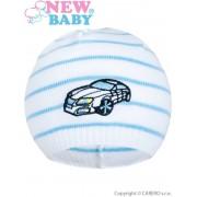 NEW BABY Jarní čepička New Baby s autíčkem bílo-modrá