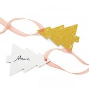 Etichete carton auriu cu sclipici pentru cadouri - 10 x 5 cm, Radar 45523, set 10 bucati
