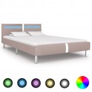 vidaXL Estrutura de cama c/ LEDs 140x200cm couro artificial cappuccino