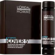 L`Oreal Homme Cover 5 Ammonia-Free Hair Colour Gel Żel do koloryzacji włosów dla mężczyzn Dark Brown 3x50ml