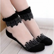 Equator Zone Black Transparent Crystal Lace Short Ladies Socks for Girls and Women Ankle Socks