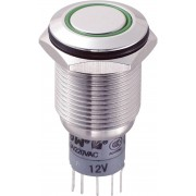 Întrerupător anti-vandalism 16 mm, iluminare 12V/inel, IP 67, 2 x ON/(ON), material oţel inoxidabil, buton plat, conexiune prin lipire, culoare led verde
