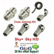 F Plug Type Coax Joining Kit Satellite Sky+ Sky H/D