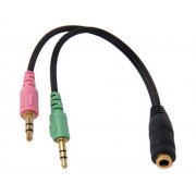 NTR CAB69 2x3,5mm jack dugó -> 3,5mm 4pin jack aljzat headset kábel 20cm