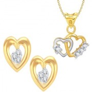 VK Jewels Gold and Rhodium Plated Alloy Earrings & Pendant Combo Set for Women & Girls made with Cubic Zirconia - COMBO1504G [VKCOMBO1504G]