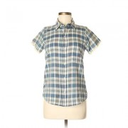 Urban Renewal Short Sleeve Button Down Shirt: Blue Print Tops - Size Medium