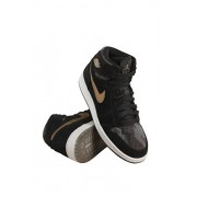 NIKE NIKE Jordan Retro 1 Hi Premium Black/Metallic Field-Light Bone (Big Kid) (9. 5 M US Toddler)