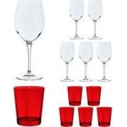 Set 12 pahare Bormioli Rocco model Special Time 6 x pahar cu picior vin rosu/rose/alb/cocktail 600 ml sticla transparenta + 6 x pahar