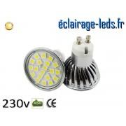 Ampoule led GU10 4w SMD 5050 blanc chaud 3000K 230v AC ref A125-1