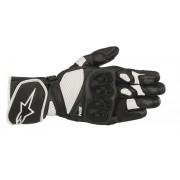 Alpinestars SP-1 v2 Guantes de cuero de la motocicleta Negro Blanco XL