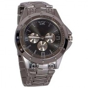 True Colors S/B Rosra Silver BlackDial Round Dial Metal Strap Mens Quartz Watch