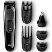 Тример 6 в 1 - за лице и коса Braun MGK3020, 4 гребена, приставка за нос и уши, Черен