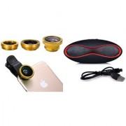 Mobile clip Lens & Rugby bluetooth speaker for all Smart phones||3 in 1 Lens|| Fish Eye Lens|| Macro Lens|| Wide Angle Lens Mobile Lens||Universal Mobile Lens ||Telescope Lens||Zoom Lens