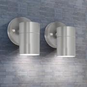 vidaXL Vonkajšie nástenné LED svietidlá, 2 ks, nerezová oceľ, dolné osvietenie