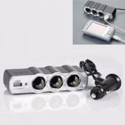 Priza Bricheta auto tripla cu USB, cu cablu Priza auto 3 prize si USB