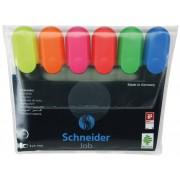 Textmarker SCHNEIDER Job, varf lat, 6 culori/set