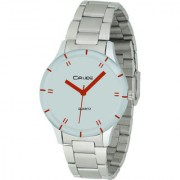 Crude Smart Analog White Dial Watch-rg390 With Stainless Steel Strap