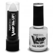 PaintGlow Heksen schmink set mat witte lippenstift en nagellak