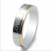 Inel magnetic otel inoxidabil stralucitor placat cu aur cod VOX 52
