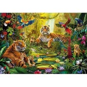 Wentworth Tiger Family in the Jungle 40 Piece Jan Patrik Krasny Wooden Jigsaw Puzzle
