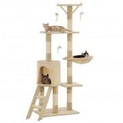 vidaXL Arbre à chat avec griffoirs en sisal 138 cm Beige
