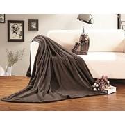 Elegant Comfort Micro Fleece Ultra Plush Luxury Solid Blanket, Twin/Twin X-Large, Chocolate