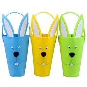 KI Store Goodie Bags for Kids Felt Easter Egg Hunt gift Bag Bunny Baskets for Toddlers, Girls, Boys,Babies Set of 3