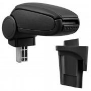Подлакътник [pro.tec]® Seat Leon 1P (2005–2012) с контейнер за съхранение, Изкуствена кожа, Черен