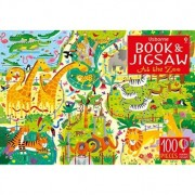 At The Zoo - Carte + Puzzle 100 piese Usborne limba engleza