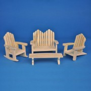 Dollhouse Miniature 4-Pc. Natural Pine Adirondack Set